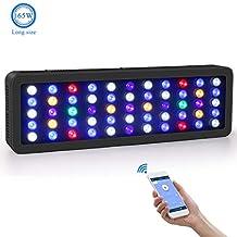 Roleadro LED Acuario Marino 165W wifi Remoto y Manual Pantalla LED Acuario Tamaño Grande Iluminacion LED para Acuarios con Luz Blanca,Azul,Luna Azul,Modo Océano 0%-100% Brillo