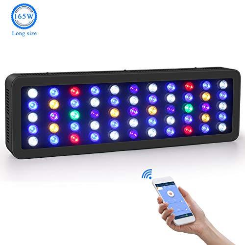 Roleadro WiFi Aquarium Beleuchtung LED 165W Dimmbar LED Aquarium Beleuchtung Große Größe Led Meerwasser mit Weißem Licht,Blauem Mondlicht,Blauem Licht,Ozean Modus Licht 0%-100% Helligkeit