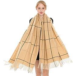 Longwu Mujer Suave Cachemira Bufanda De Lana Pashminas Grandes Mantón Y Abrigo Manta Estola Caliente-Camel