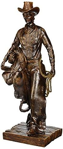 Stealstreet Ss-ug-nfc-706Cowboy tenant Selle/Lasso Bronze Affichage sur les Base Sculpture, 41,9cm
