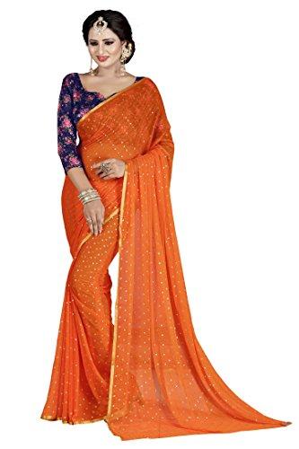 Febo Fashion Women's Nazneen Orange Colour Plain Sari