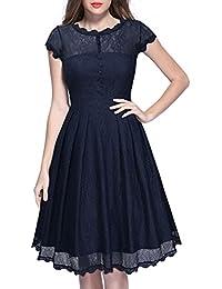 MIUSOL Damen Spitzen 3/4 Ärmel Elegant Revers Cocktailkleid 1950er Jahre Faltenrock Party Kleid
