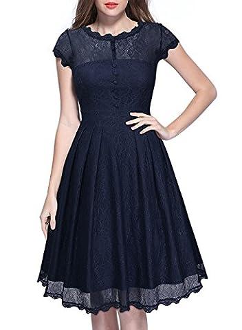 MIUSOL Women's Vintage 1940s Tea Dress,Cap Sleeve A Line Lace Evening Dress(Blue,Medium)