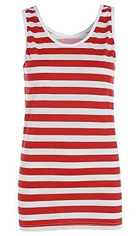 Déguisement pour femme T-shirt à lignes blanches et rouges - Chapeau haut-de-forme - Lunettes (différents choix) - rouge - 38