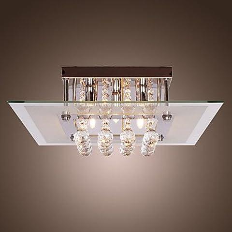 PJSKJZQ Lámpara de Techo de Cristal Estilo Contemporáneo con 5 Luces en Diseño Cuadrado , 220-240V