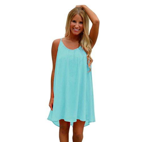 JUTOO Frauen Spaghetti Strap Zurück aushöhlen Sommer Chiffon Beach Short Dress(Blau, ()