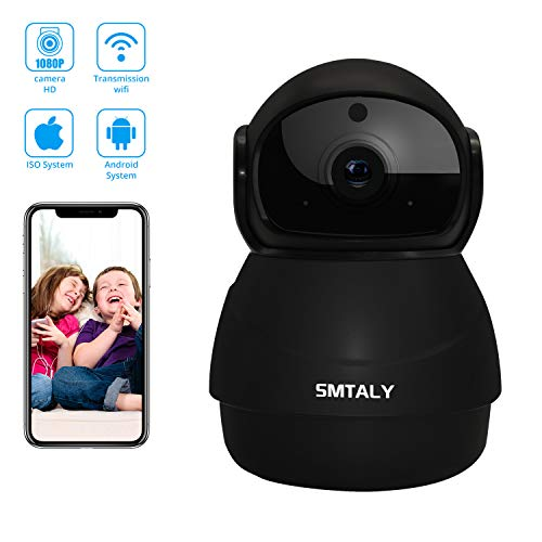 SMTALY C3 1080P WLAN IP Kamera, WiFi ÜberwachungsKamera Panoramaansicht Nachtsicht,2 Wege Audio,Nachtsicht und Intelligenter Rotation,Bewegungserkennung Indoor-Baby/Haustier-Monitor C3-kamera