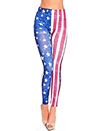 Zarlena Damen Leggings Flags Flag Flaggen Flagge England UK Punk USA Great Britain