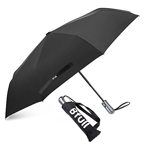 Bfull Ombrello, Automatico Apri e Chiudi Compatto Antivento Ombrello Per Esterno da Viaggio, Tessuto Nero, Sturdy Ombrello(Nero)