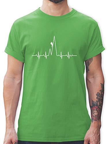 Sonstige Sportarten - Herzschlag Kletterer - M - Grün - L190 - Herren T-Shirt und Männer Tshirt