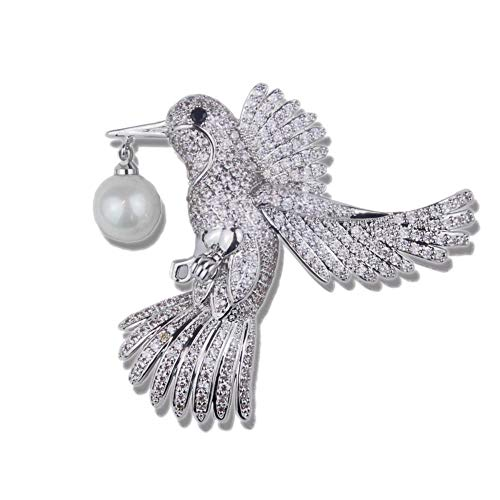 Olydmsky Luxus Glück Vogel Perle Mode Pullover Blazer Jacke Brosche