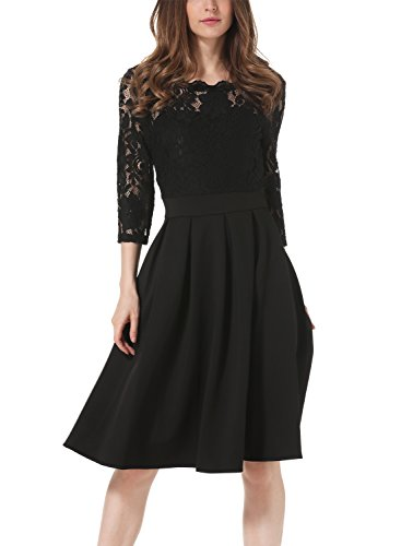 IHOT-Womens-Vintage-1950s-Elegant-34-Sleeve-Lace-Cocktail-Party-Dress