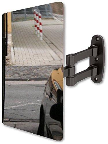 Garagenspiegel - Metallspiegel 300 x 400 mm - Einparkhilfe mit stabiler und praktischer Wand-Halterung - Ausfahrt + Einfahrt . Wandabstand optimal einstellbar