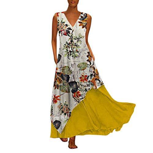 Tohole Damen Strandkleider Türkischer Stil Boho Lose Tunika Lange Sommerkleider Shirt Strandhemd Kleid Urlaub Vintage unregelmäßiges Kleid(Gelb-K,3XL)