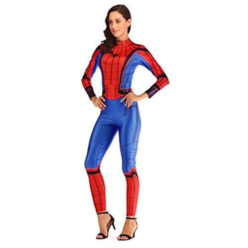 che Spider-Man Overall Body Kostüm Cosplay Overall Outfit Erwachsene Halloween Prom Party Maskerade Thema Parteien Geschenk,Blue,S ()