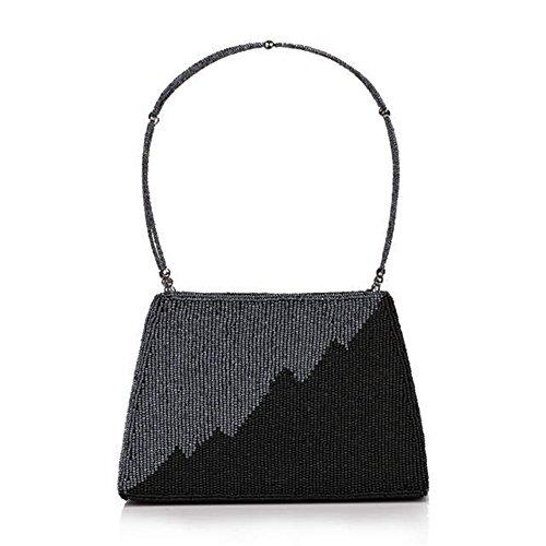 ERGEOB® Donna Clutch borsetta Business taschino sacchetto di sera fatto a mano perla taschino diamante Party Festa taschino nero + grigio