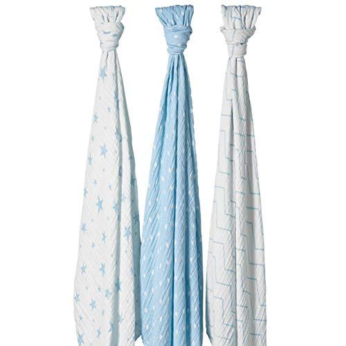 Bloomsbury Mill - 3er-Pack Pucktücher - 100% Baumwolle - Große Mulltücher für Baby - 120 cm x 120 cm - Sterne, Winkelmuster & Punktmuster - Blau & Weiß (Weiß Schnuffeltuch-set Blau)