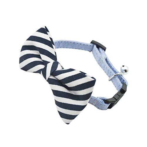 Gazechimp Baumwolle Hundehalsband Katzenhalsband Halsband Band Krawatte Kragen mit Glocke Für Hund Katze - Blau-Streifen, M (Fliege Kragen Band)