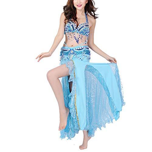 Kostüm Stück Ein Spandex - Yinglihua Bauchtanz Kleid Bühnenparty Bauchtanz Performance Kleidung BH Taillenrock 3 Stück Damentanzkostüm (Farbe : Blau, Größe : L)