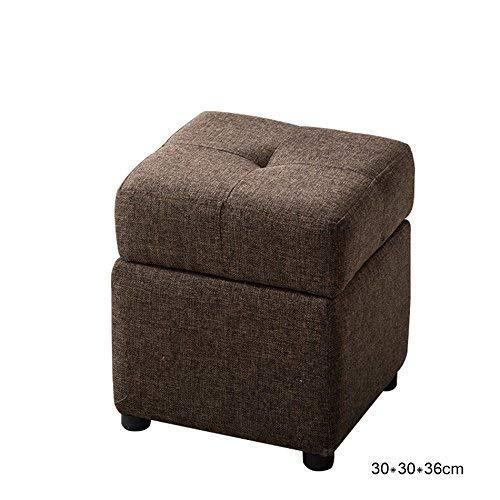 Wood bench Home Chair, Creative Square tapizado de escabel, Taburete Plegable de Lino,30 * 30 * 36 cm,Cama y Desayuno