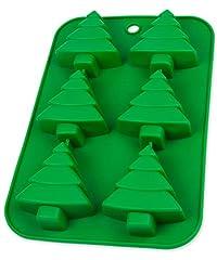 Idea Regalo - Stampo in silicone con abete di Natale per Cupcakes, Muffin, Brownie, cubetti di ghiaccio, cioccolatini, nascherei im Design Natalizio, Vacanze, caramelle, Muffin, budino, Babbo Natale, Santa, colore: verde