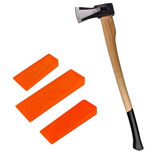 TronicXL Profi Spaltaxt mit Holz Stiel Axt Spalthammer Holzspalthammer Forstaxt Holzaxt Set mit 3er Fällkeil Fällkeile Spaltkeil Spaltkeile Forst Forstwirtschaft Holz fällen Brennholz