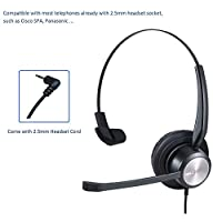 ‏‪MKJ Corded 2.5mm Headset for Office Phones with Noise Cancelling Microphone for Cisco Linksys SPA 303 502g 508g 525g إلخ Panasonic KX-NT346 KX-T7625 KX-DT543 وهواتف أخرى لاسلكية‬‏