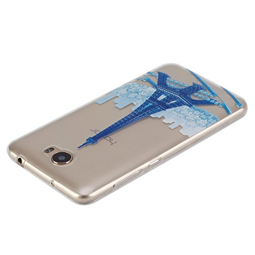 Ukayfe Custodia per Huawei Y5 II,Ultra Slim TPU Gel Gomma Silicone Copertura Case per Huawei Y5 II,Moda Serie Pattern Back Cover Crystal Skin Custodia Stilosa custodia di design Protettiva Shell Case  Blu Torre
