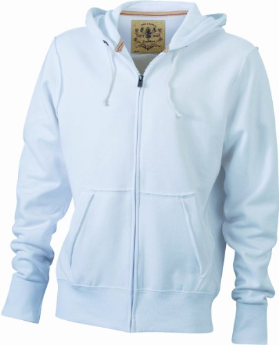 James & Nicholson Kapuzenjacke Men's Vintage Hooded Sweatshirt Felpa, Uomo Bianco (white)