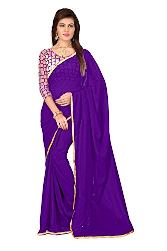 FINEFAB Chiffon Plain Saree (Pack Of 2) (Chifon.Purple_Purple)