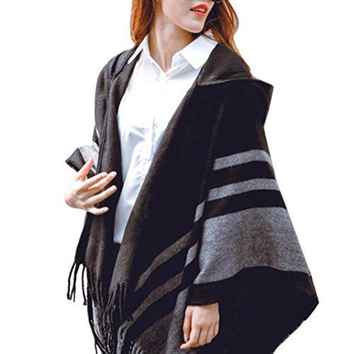 Resplend Frauen Gestrickte Gestreifte Poncho Sweater Outwear Mantel Mit Kapuze Warme Fransen Schals Kapuzen Cape Mit Fransen Cardigan Mantel (Schwarz)