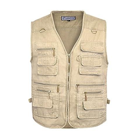Belloo Herren Outdoor Sport Weste mit 16 Taschen, Farbe Khaki, Gr. 2XL(EU: L)