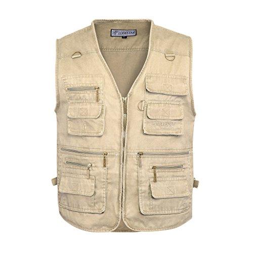 Belloo Herren Outdoor Sport Weste mit 16 Taschen, Farbe Khaki, Gr. 4XL(EU: 2XL)