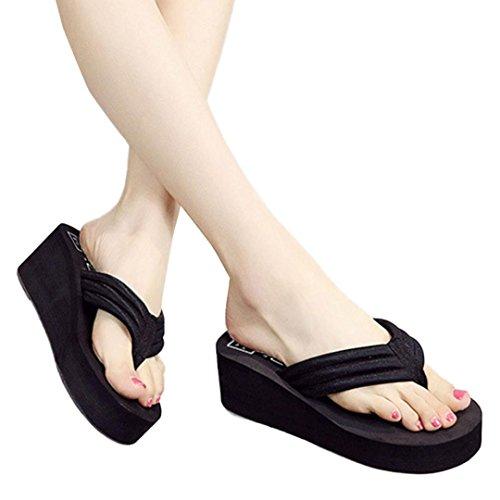 Coloré TM Sandales Femme Tongs Femmes Tongs Pantoufles Plage Sandales Summer Home Chaussures Noir