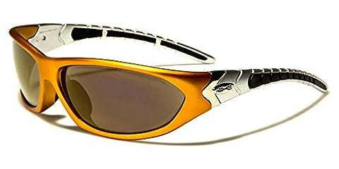 New XLoop SOLO Unisex Sport Wrap Sunglasses UV400 100% Protection (bronze & silver frame mirror bronze lens)