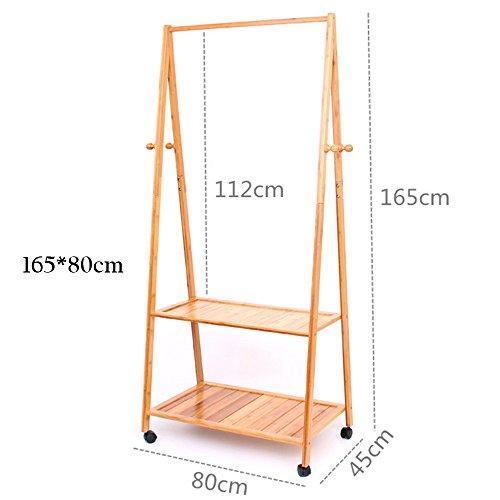 FEIFEI Cintres Type de plancher multifonctionnel de support de manteau L'art de bambou il peut déplacer l'étagère de stockage stable et durable (taille : 165*80cm)