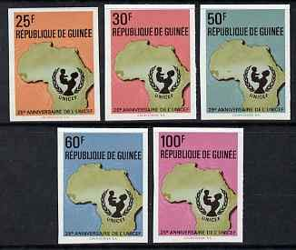 Guinea - Conakry 1971 25th Anniv of UNICEF imperf set of 5 from limited printing u/m as SG 750-4 UNICEF CHILDREN MAPS UNITED NATIONS JandRStamps -