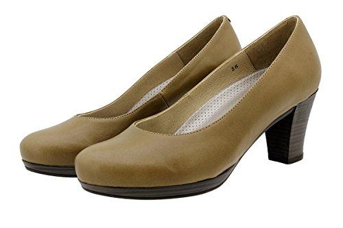 PieSanto Scarpe Donna Comfort Pelle 9301 Scarpe con Tacco Comfort Larghezza Speciale NaturNuez