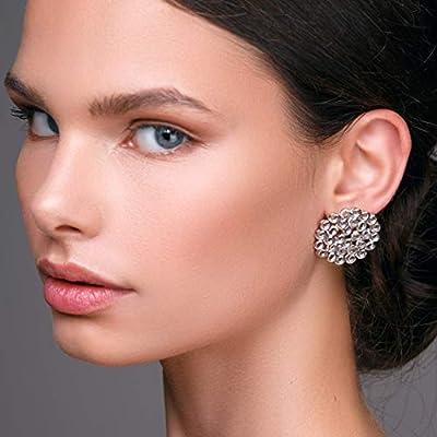 Boucles d'oreilles en nid d'abeille en argent sterling 925 faites à la main par Emmanuela, grandes boucles d'oreilles rondes, bijoux inhabituels et élégants, boucles d'oreilles hypoallergéniques