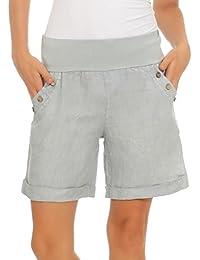 Mississhop Damen Leinenshorts Bermuda lockere Kurze Hose Freizeithose 100%  Leinen Shorts Elegante Haremshose mit Knöpfen… d199e8fa6a