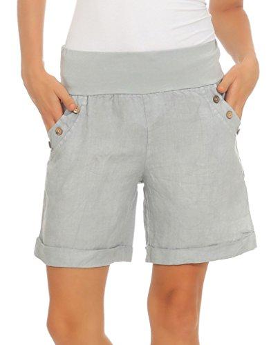 Mississhop 280 Damen Leinenshorts Bermuda lockere Kurze Hose Freizeithose 100% Leinen Shorts mit DREI Knöpfen Sommer Strand Grau L