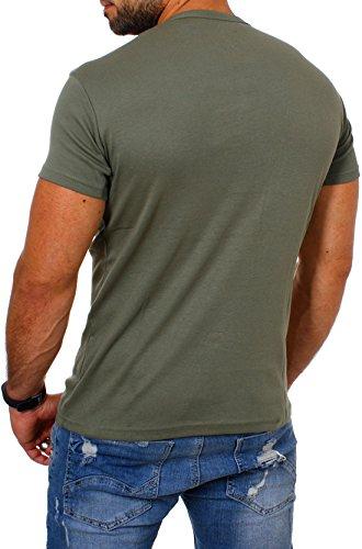 Young & Rich Herren Uni feinripp T-Shirt mit Knopfleiste & tiefem Ausschnitt deep V-Neck einfarbig big buttons große Knöpfe 1872 Militär-Grün
