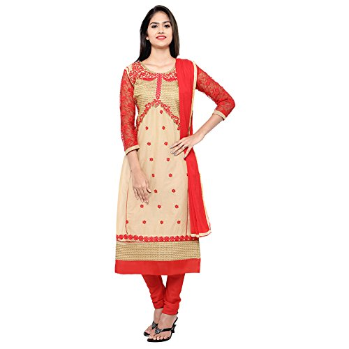 Florence Women's Cotton Top, Bottom And Dupatta Dress Material (Sb-3311_Beige & Red_Free...