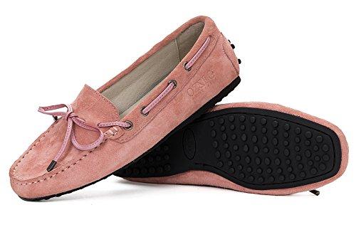 OZZEG dames chaussure cuir Smart Loafer mocassin confort décontracté plat bateau chaussure cuir de porc Rose