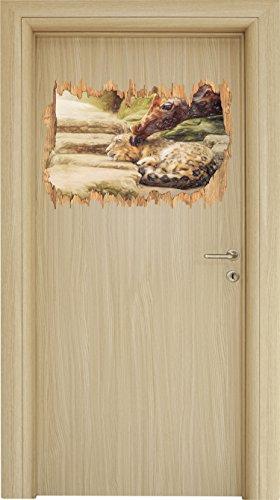 kuschel-santander-leopard-and-giraffe-art-crayon-effect-wood-breakthrough-in-3d-look-wall-or-door-st
