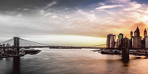 Artland Poster oder Leinwand-Bild gespannt auf Keilrahmen mit Motiv mandritoiu Brooklyn Bridge Panorama im Sonnenuntergang - schwarz/weiss und farbig Städte Amerika NewYork Foto Schwarz/Weiß - Bridge-foto-bearbeiten