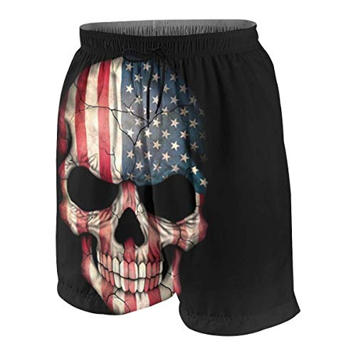 American Flag Sugar Skull.jpg Boys Beach Shorts Quick Dry Beach Swim Trunks Kids Swimsuit Beach Shorts,Boys' Pull-on Cargo Shorts XL - Denim-pull-on Shorts