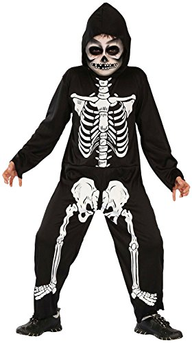 Skelett Kostüm Kinder - Skelett Kostüm für Jungen Halloween schwarz-weiß mit Ganzkörperanzug + Mutze (134/140)