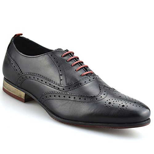 Mens Leather Italian Formal Office Smart Casual Lace Up Oxford Brogue Shoes Size[UK 9,Black]