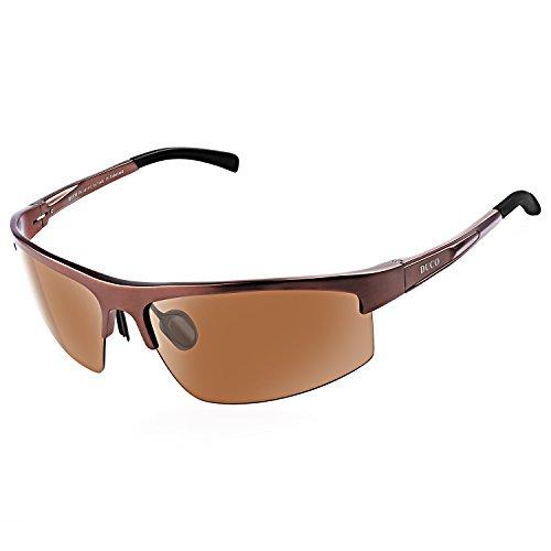 DUCO Herren Sportbrille Polarisierte Sonnenbrille Fahrerbrille 8203 (Braun)